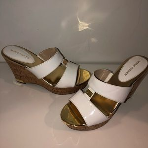 Marc Fisher Gold and White Sandals